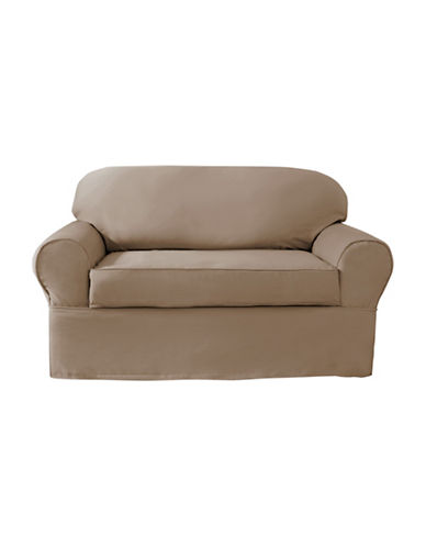 Sure Fit Twill Wrap Style Loveseat Slipcover-BISCUIT-One Size