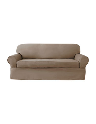 Sure Fit Twill Wrap Style Sofa Slipcover-BISCUIT-One Size