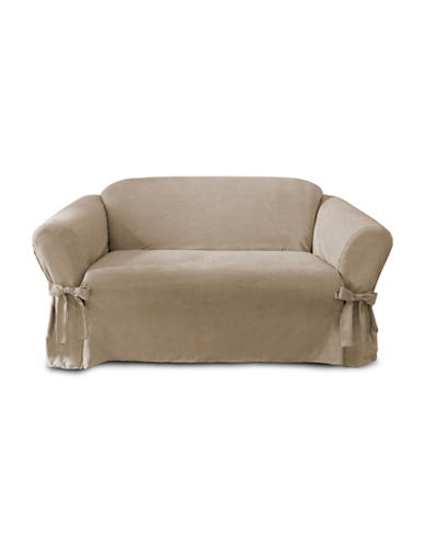 Sure Fit Faux-Suede Adjustable Loveseat Slipcover-TAUPE-One Size