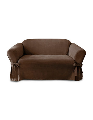 Sure Fit Faux-Suede Adjustable Loveseat Slipcover-CHOCOLATE-One Size