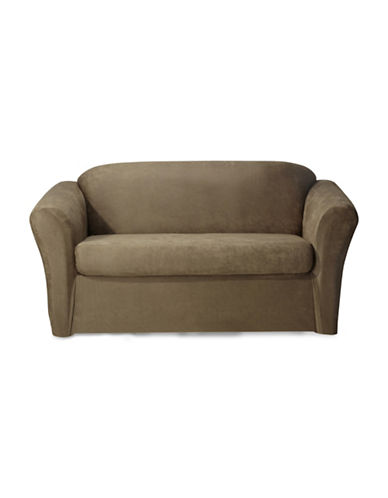 Sure Fit Stretch Leather Two-Piece Loveseat Slipcover-BISCUIT-One Size