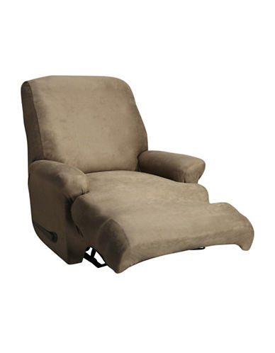 Sure Fit Stretch Leather One-Piece Recliner Slipcover-BISCUIT-One Size