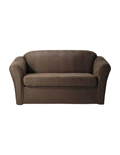 Sure Fit Stretch Leather Two-Piece Loveseat Slipcover-TOBACCO-One Size