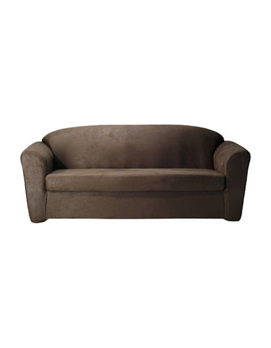 Sure Fit Stretch Leather Two-Piece Sofa Slipcover-TOBACCO-One Size