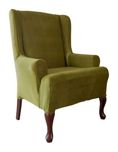 Sure Fit Jagger Stretch One-Piece Wing Chair Slipcover-MOSS-One Size