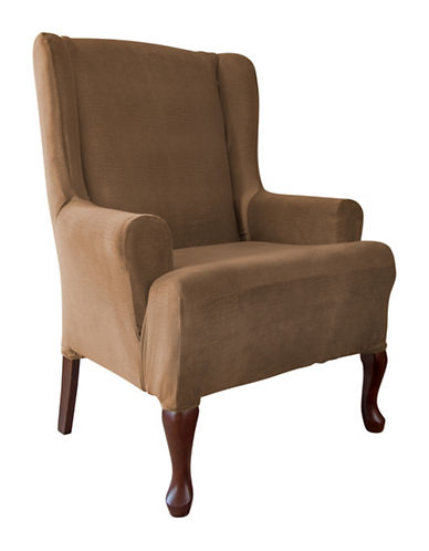 Sure Fit Jagger Stretch One-Piece Wing Chair Slipcover-BISCUIT-One Size