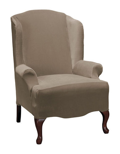 Sure Fit Eastwood One-Piece Stretch Wing Chair Slipcover-MINK-One Size