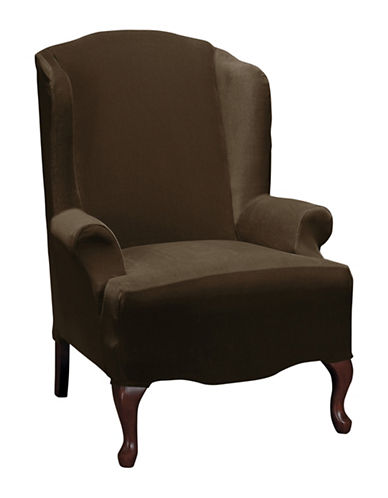 Sure Fit Eastwood One-Piece Stretch Wing Chair Slipcover-CHESTNUT-One Size