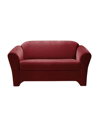 Sure Fit Eastwood Two-Piece  Stretch Loveseat Slipcover-MERLOT-One Size