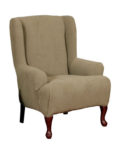 Sure Fit Montgomery One-Piece Stretch Wingchair Slipcover-MINK-One Size
