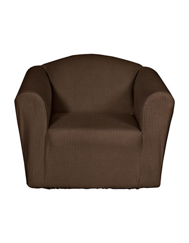 Sure Fit Montgomery One-Piece Stretch Chair Slipcover-CHOCOLATE-One Size