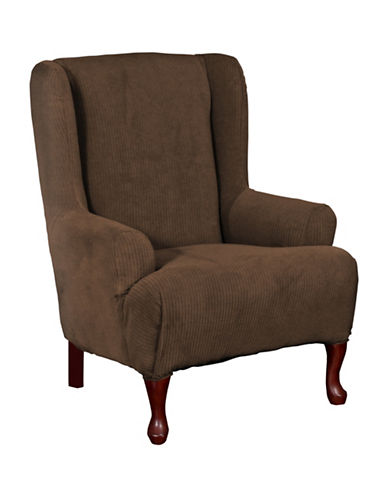 Sure Fit Montgomery One-Piece Stretch Wingchair Slipcover-CHOCOLATE-One Size
