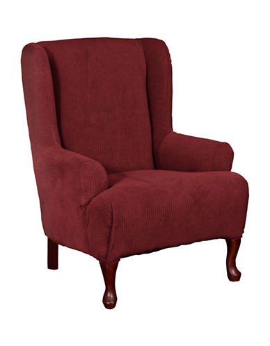 Sure Fit Montgomery One-Piece Stretch Wingchair Slipcover-MERLOT-One Size
