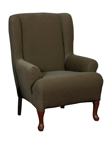 Sure Fit Spencer One-Piece Stretch Wing Chair Slipcover-CHOCOLATE-One Size