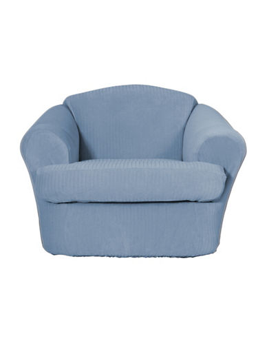 Sure Fit Spencer Two-Piece Stretch Chair Slipcover-BLUE-One Size
