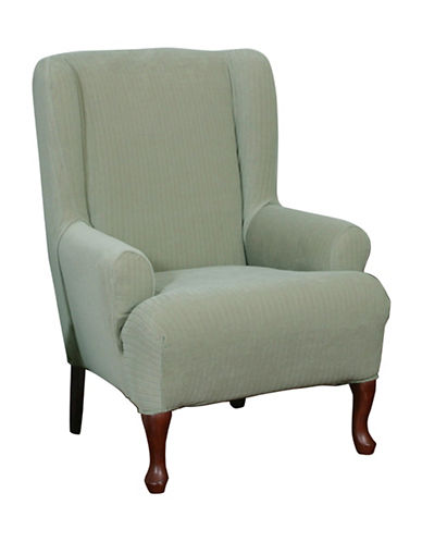 Sure Fit Spencer One-Piece Stretch Wing Chair Slipcover-SAGE-One Size