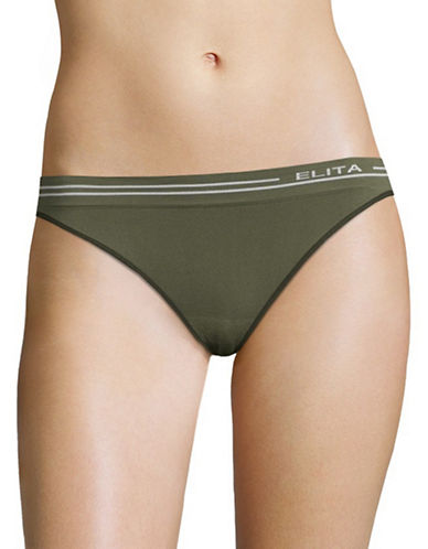 Elita Seamless Bikini Cut Briefs-GREEN-Medium