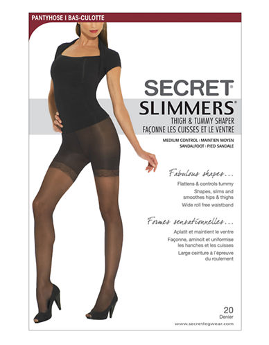 Secret Hosiery Secret Slimmers Tight and Tummy Shaper-BLACK-B