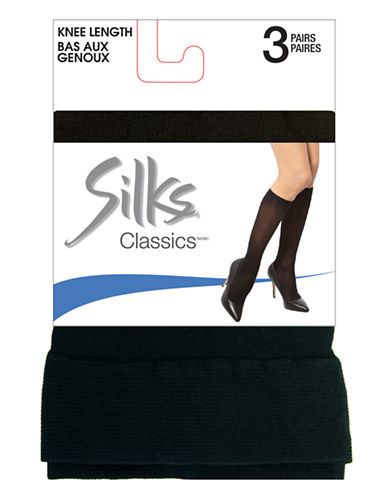 Silks Knee High 3 Pair-BLACK-One Size