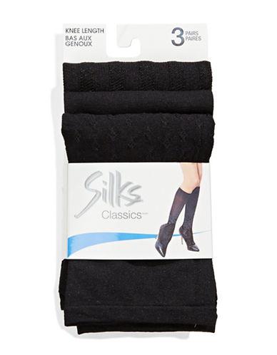 Silks Knee High 3 Pair-BLACK-One Size