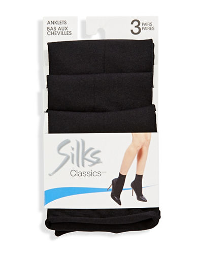 Silks Opaque Anklet 3Pair-BLACK-One Size