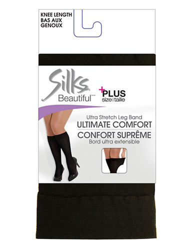 Silks Beautiful Plus Opaque Kneehigh-BLACK-Queen