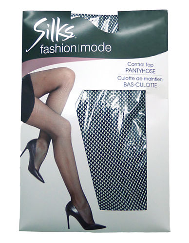 Silks Fishnet Control Top Pantyhose-BLACK-A