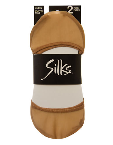 Silks Two-Pair Low Cut Shoe Liners-NATURAL-One Size