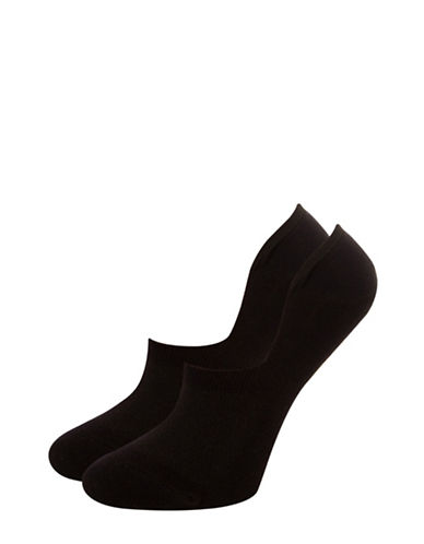 Silks Two-Pair Sneaker-Cut Combed Cotton Liners-BLACK-One Size