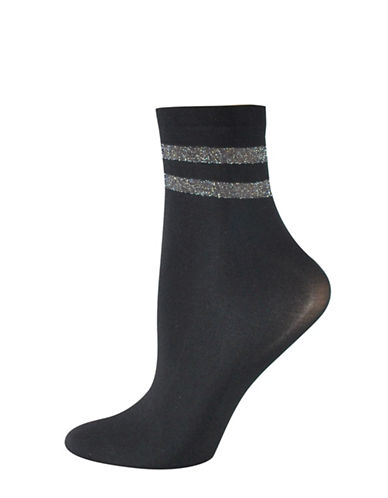 Silks Lurex Stripe Opaque Anklet Socks-BLACK-One Size