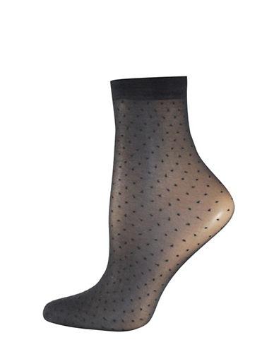 Silks Pindot Sheer Anklet Socks-BLACK-One Size