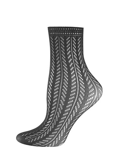 Silks Chevron Crochet Anklet Socks-BLACK-One Size