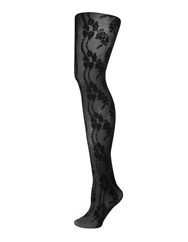 Silks Floral Velvet Tights-BLACK-1