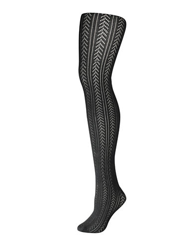 Silks Fashion Cotton Chevron Tights-BLACK-1