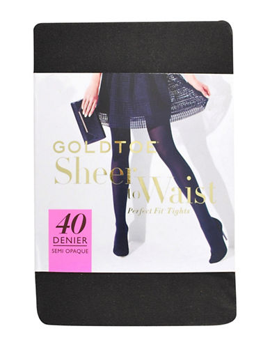 Goldtoe 40 Denier Control Top 3D Tights-BLACK-C