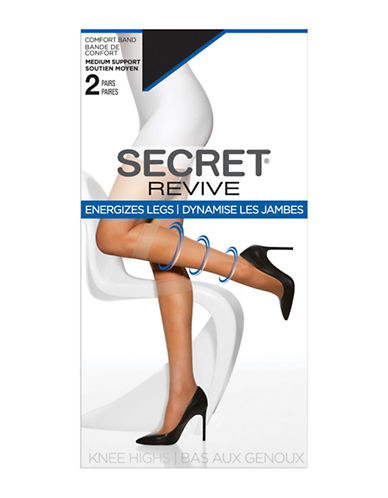 Secret Hosiery Medium Support Knee High Socks-BLACK-One Size