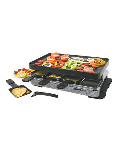 Swissmar 8 Person Eiger Raclette Party Grill with Reversible Cast Aluminum Non Stick Grill Plate-BLACK-One Size