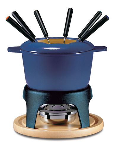 Swissmar 11-Piece Cast Iron Fondue Set-BLUE-One Size