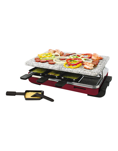 Swissmar 8 Person Red Classic Raclette Party Grill with Granite Stone-RED-One Size