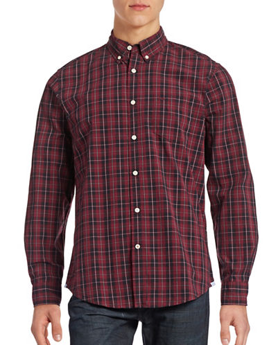 Dockers Standard-Fit Plaid Shirt-MERLOT PLAID-Medium