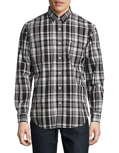 Dockers Standard Fit Checked Sport Shirt-BLACK-Large