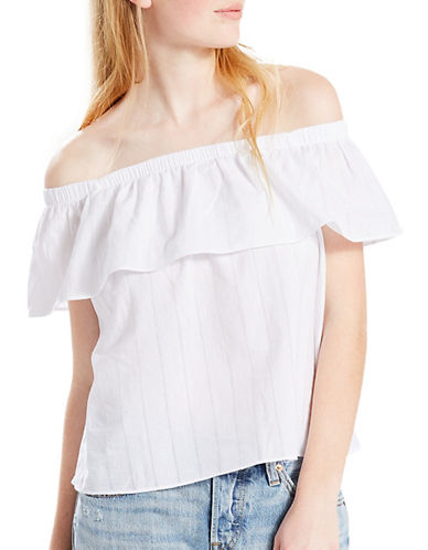 LeviS Off-the-Shoulder Ruffled Top-WHITE-X-Large