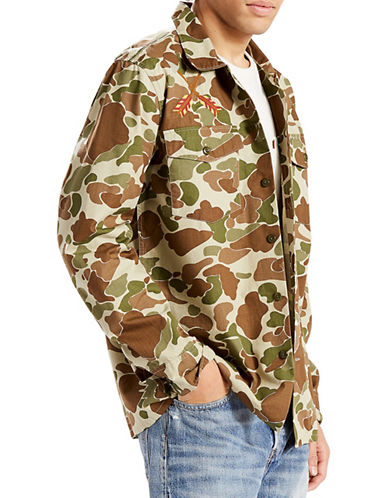 LeviS Military Camouflage Shacket-GREEN-Small