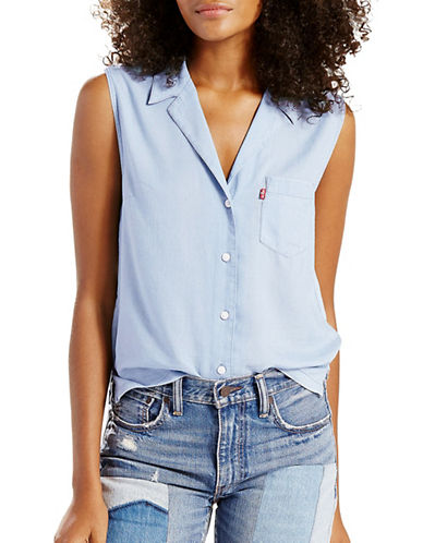 LeviS Betty Sleeveless Shirt-SUPER LIGHT BLUE-Medium