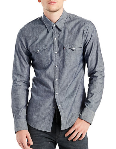 LeviS Barstow Western Shirt - Guardsman Chambray Rinse-BLUE-Large