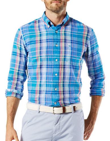 Dockers Plaid Cotton Blend Sport Shirt-BLUE-X-Large