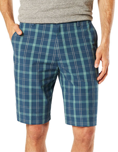 Dockers The Perfect Fit Classic Fit Plaid Shorts-BLUE-38