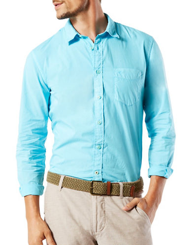 Dockers Woven Slim-Fit Shirt-BLUE-Large