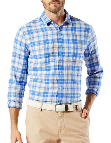 Dockers Stretch Coastal Twill Woven Shirt-BLUE-Large