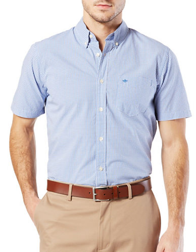 Dockers Standard Essential Poplin Shirt-BLUE-Large